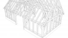 Design for a fully developed barn-style oak frame.