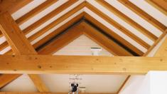 Douglas fir roof in a kitchen extension.