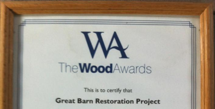 Highly Commended award certificate from the Wood Awards to The Timber Frame Company.