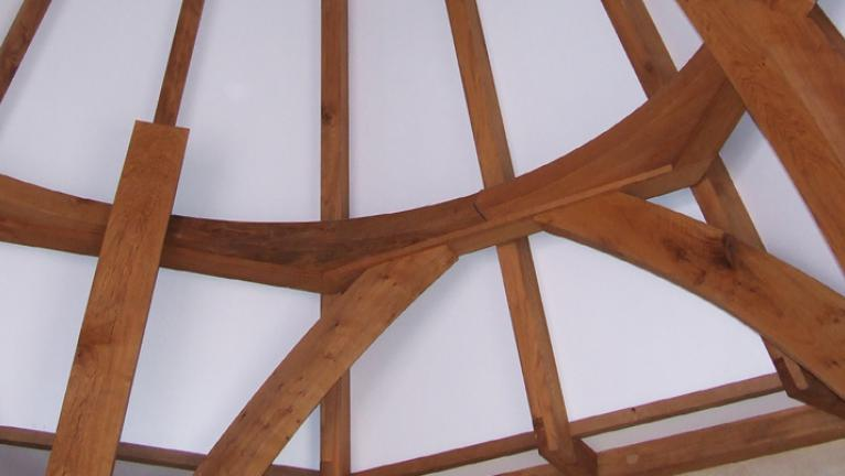 Inside an oak framed spire.